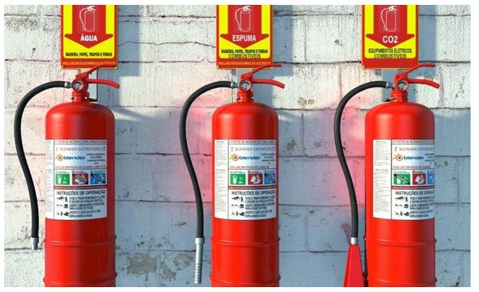 Extintores de incêndio  para conter ou acabar por completo com inícios de  incêndios, por exemplo. 0fc111907f